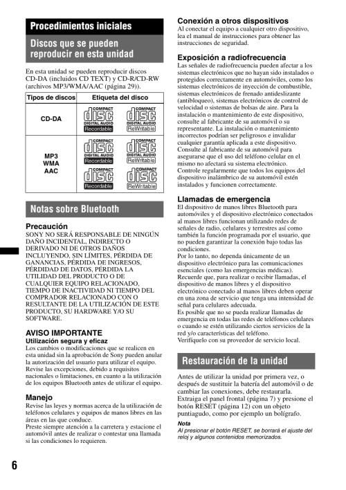 small resolution of procedimientos iniciales discos que se pueden reproducir en esta unidad notas sobre bluetooth