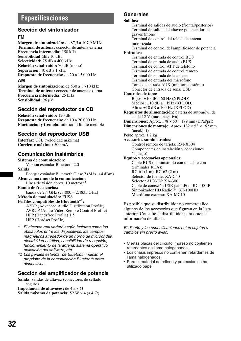 medium resolution of especificaciones secci n del sintonizador secci n del reproductor de cd secci n del reproductor usb