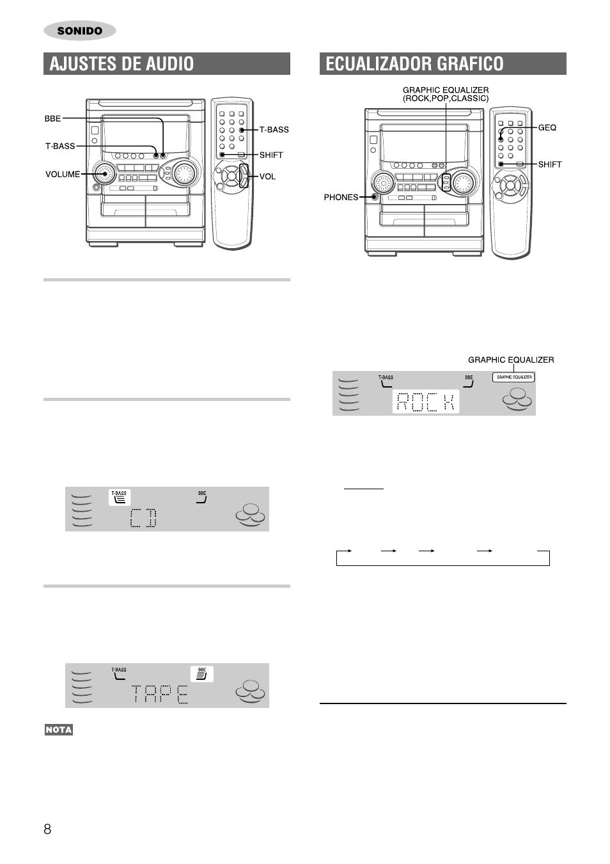 Ecualizador grafico, Ajustes de audio, Control de volumen