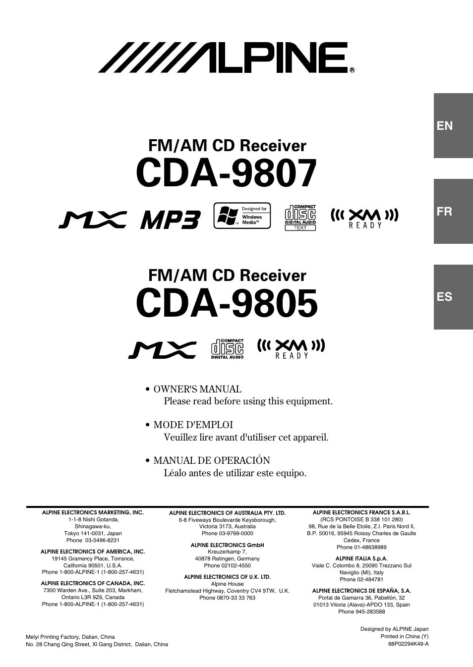 ALPINE CDA 9807 MANUAL PDF
