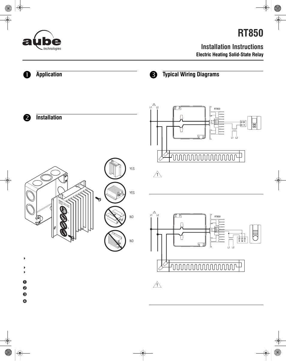 medium resolution of aube technologies electric heating solid state relay rt850 user manual 2 pages
