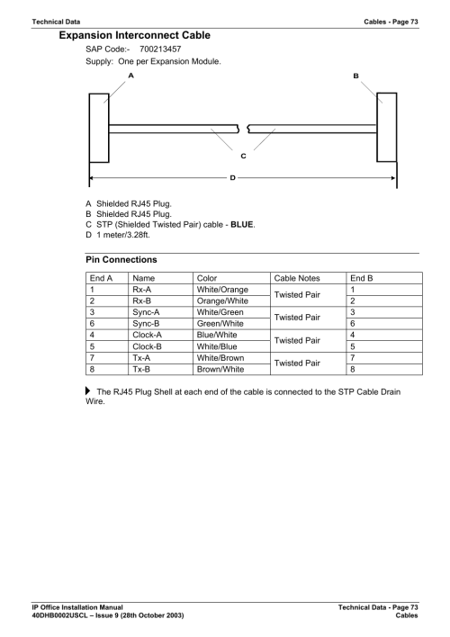 small resolution of expansion interconnect cable pin connections avaya ip office phone user manual page 73 86