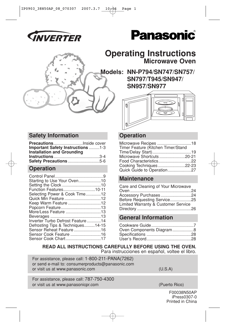 Panasonic Microwave Inverter Manual
