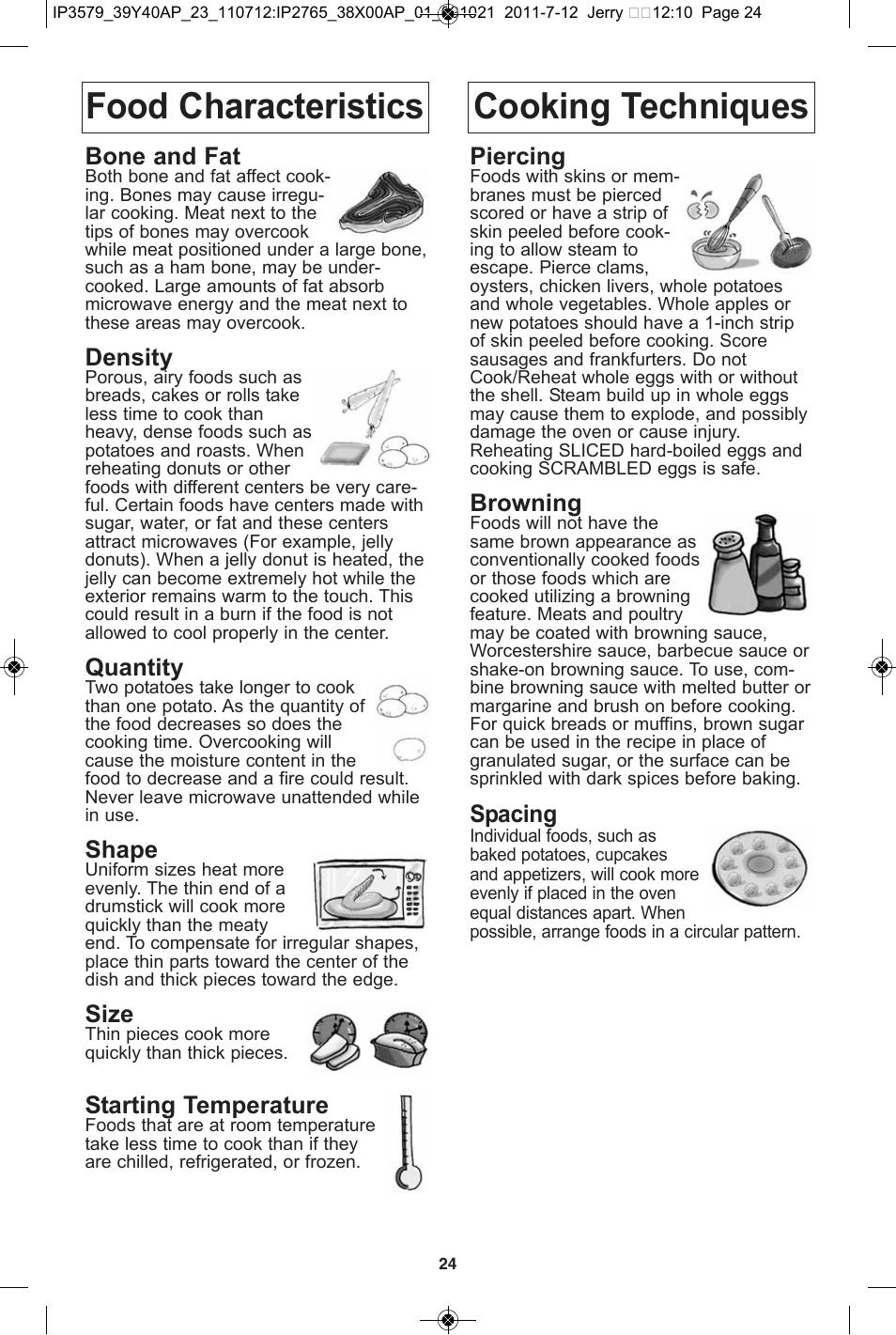 Food characteristics, Cooking techniques, Food