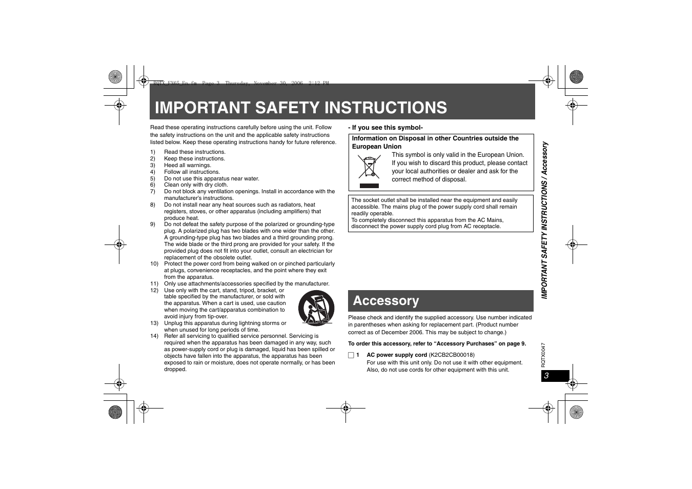 Imporant safety instructions, Accessory, Important safety
