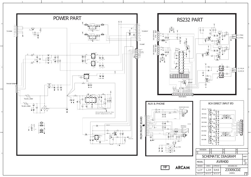 Power part rs232 part, Schematic diagram, 8ch direct input