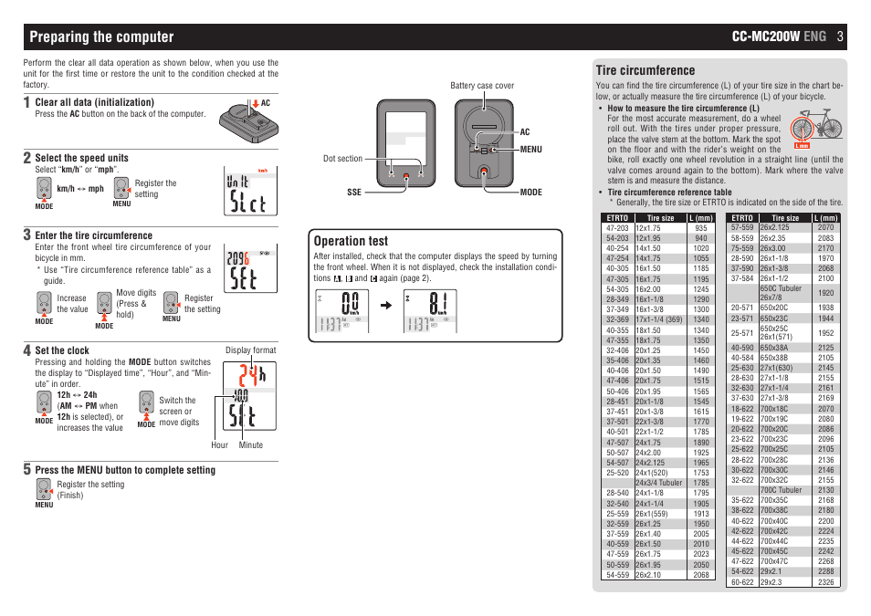 Preparing the computer, Cc-mc200w eng 3, Operation test