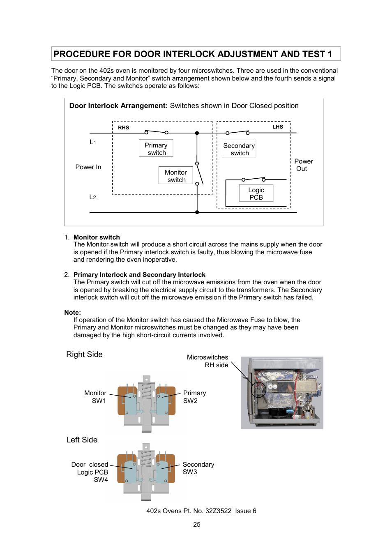 medium resolution of procedure for door interlock adjustment and test 1 merrychef 402s user manual page 25 51