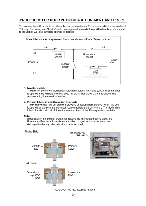 small resolution of procedure for door interlock adjustment and test 1 merrychef 402s user manual page 25 51