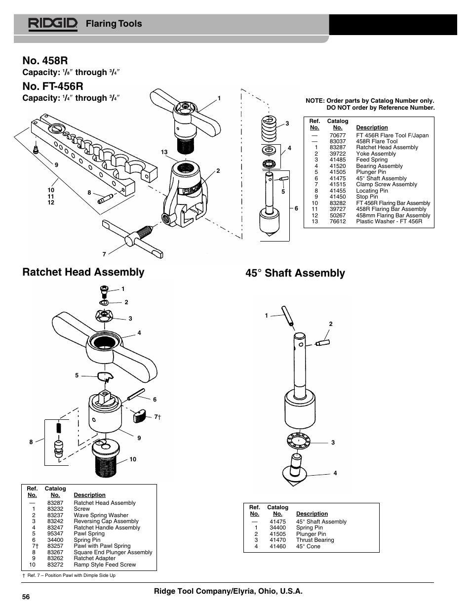 45° shaft assembly ratchet head assembly, No. 458r, No. ft
