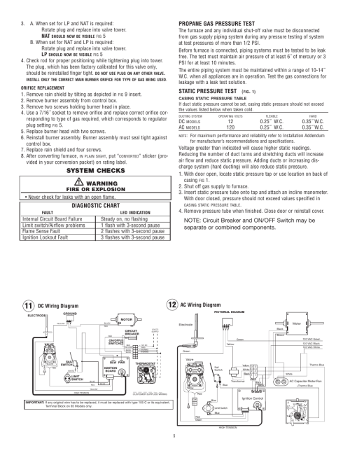 small resolution of system checks warning diagnostic chart propane gas pressure test static pressure test