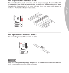 power supply atx 24 pin power connector jpwr1 atx 4 pin power connector jpwr2 msi z68a g43 g3 user manual page 25 80 [ 954 x 1432 Pixel ]
