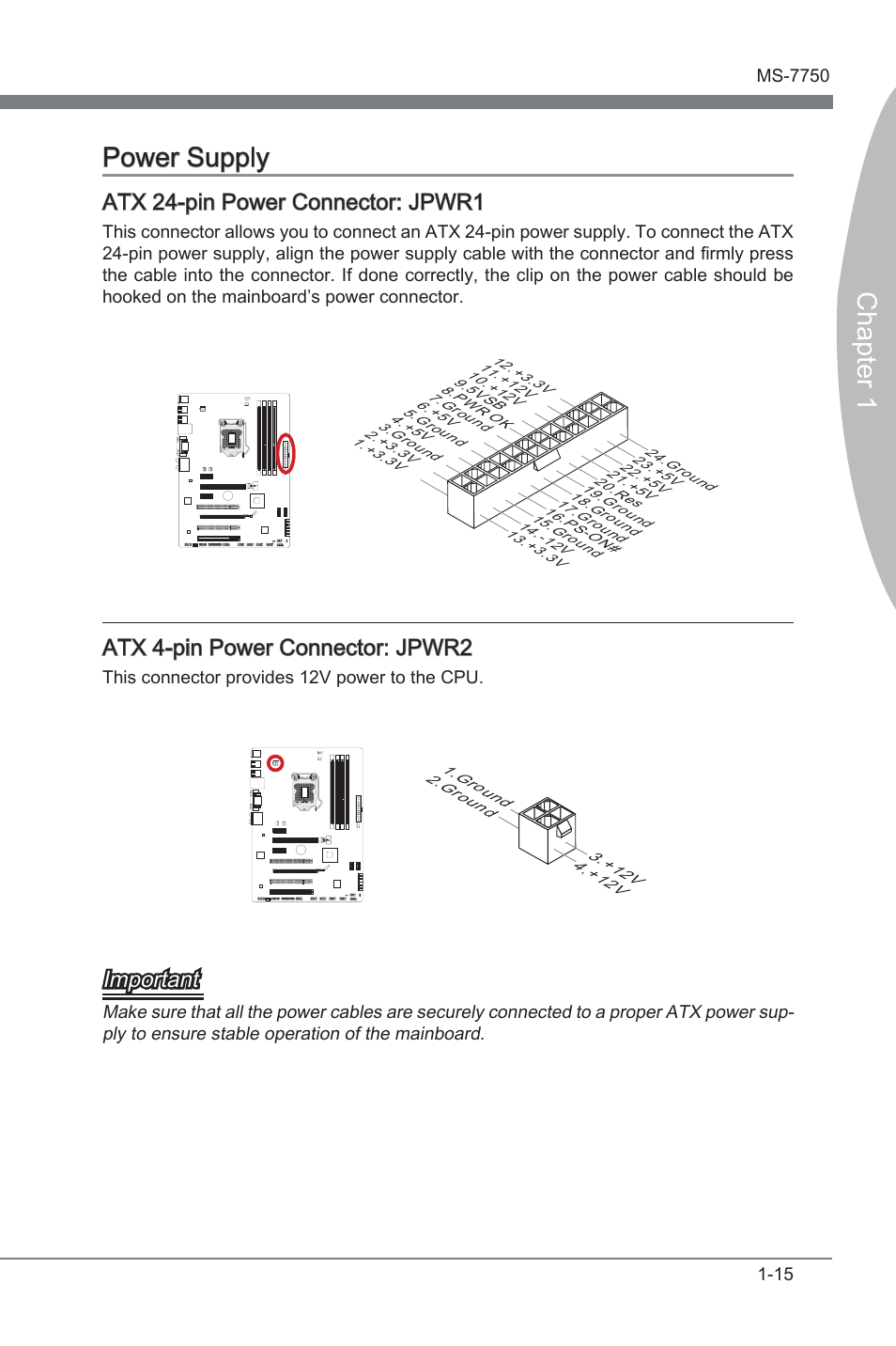 medium resolution of power supply atx 24 pin power connector jpwr1 atx 4 pin power connector jpwr2 msi z68a g43 g3 user manual page 25 80
