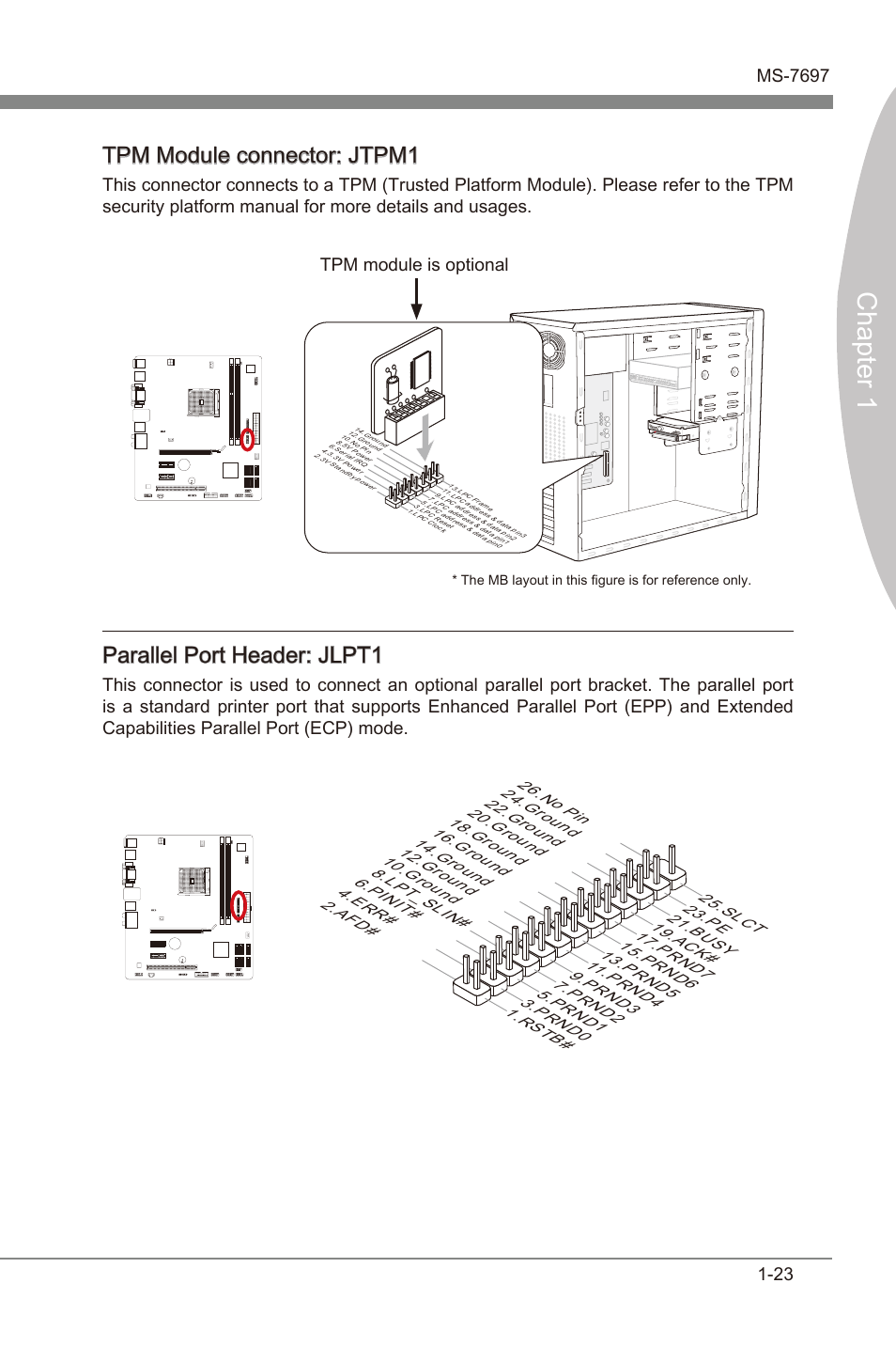 hight resolution of tpm module connector jtpm1 parallel port header jlpt1 chapter 1 tpm
