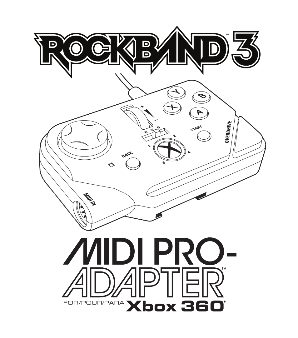 Rock Band MIDI PRO-Adapter Rock Band 3 for Xbox 360 User