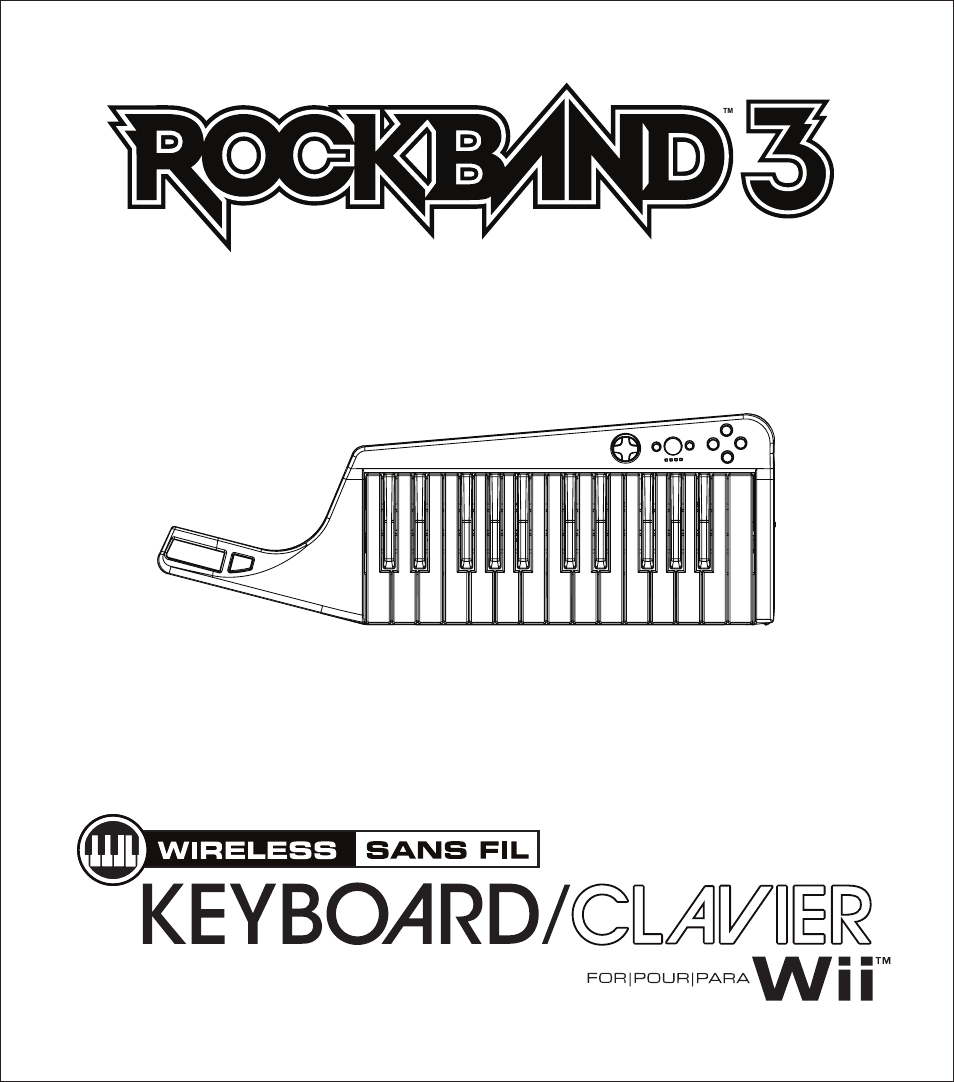 Rock Band Wireless Keyboard Clavier Rock Band 3 for