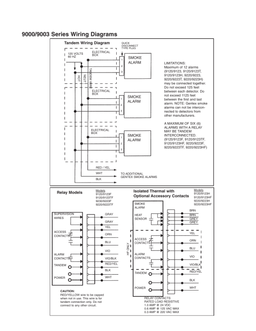 small resolution of smoke alarm tandem wiring diagram relay models isolated thermal with optional accessory contacts