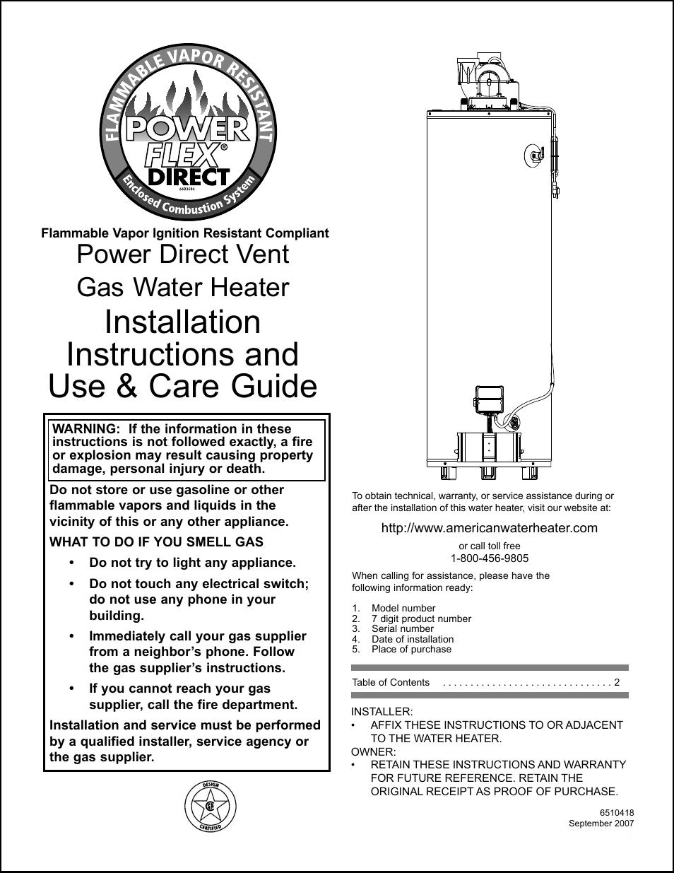 American Water Heater Power Flex 40-42K BTU User Manual