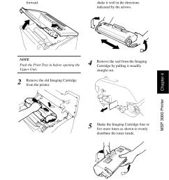 replacing the toner cartridge replacing the toner cartridge 7 konica minolta msp3500 user manual page 101 136 [ 954 x 1352 Pixel ]