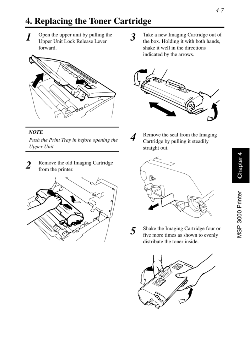 small resolution of replacing the toner cartridge replacing the toner cartridge 7 konica minolta msp3500 user manual page 101 136