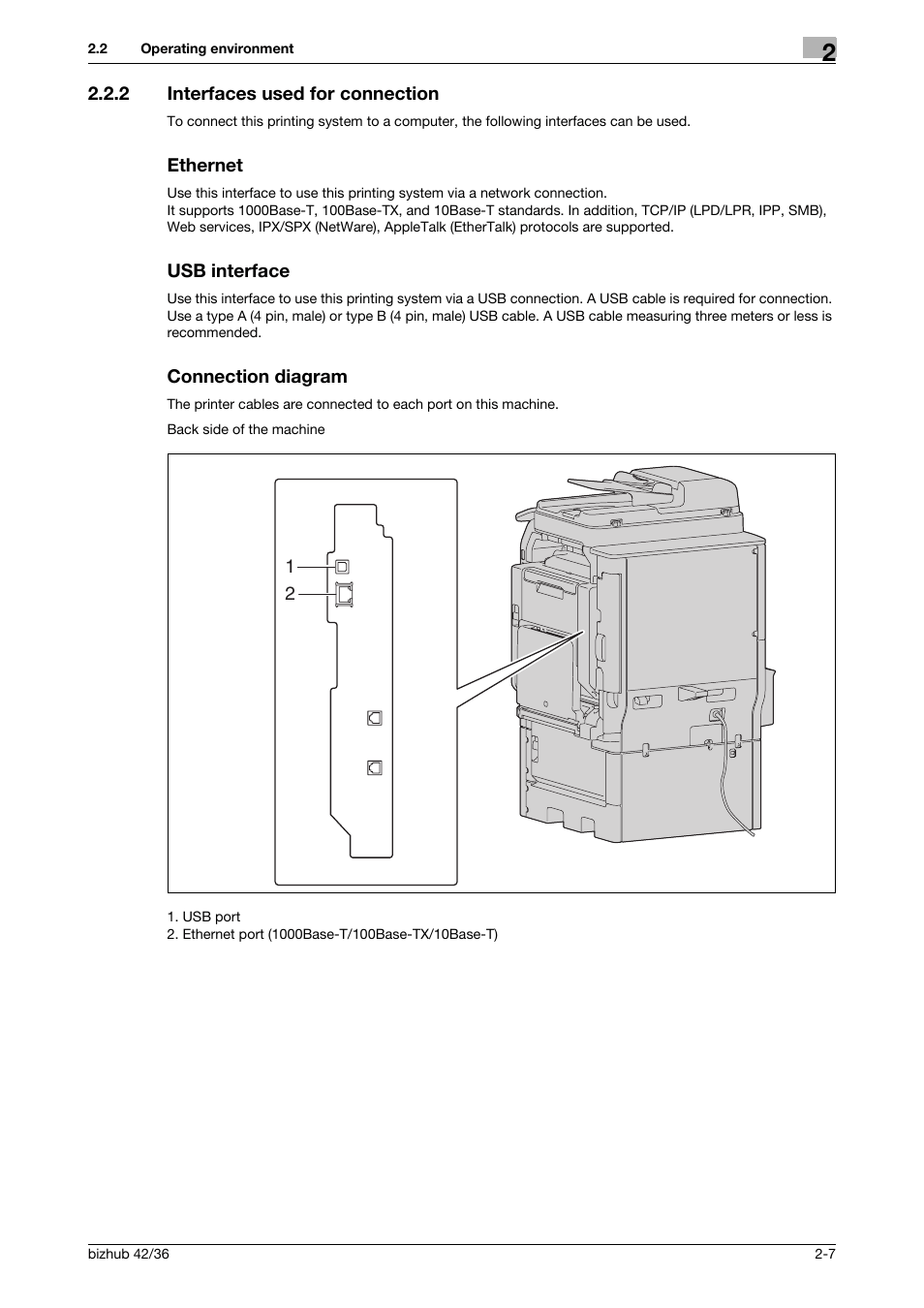 hight resolution of 2 interfaces used for connection ethernet usb interface konica minolta bizhub 36 user manual page 17 198