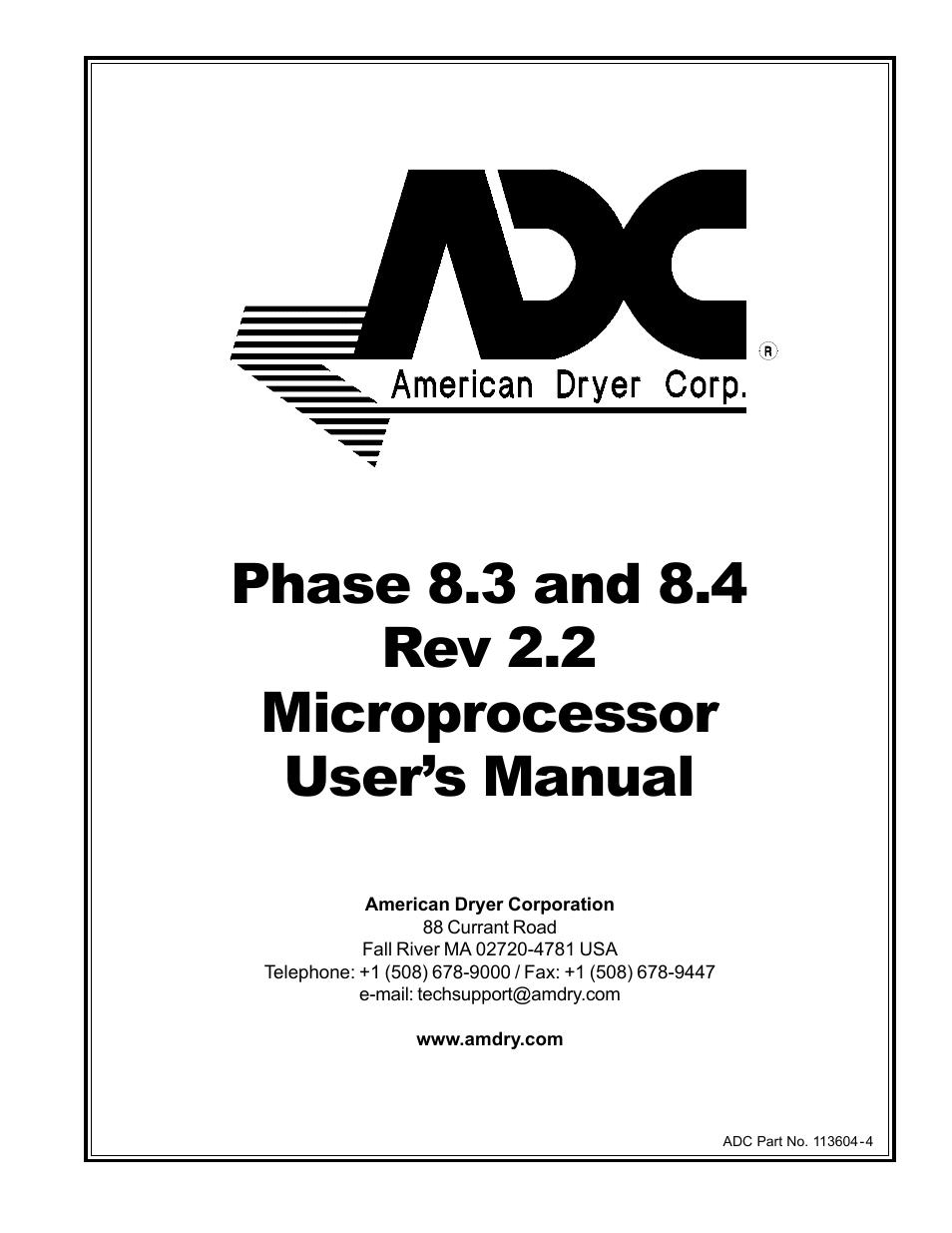 American Dryer Corp. Microprocessor 8.4 Rev 2.2 User
