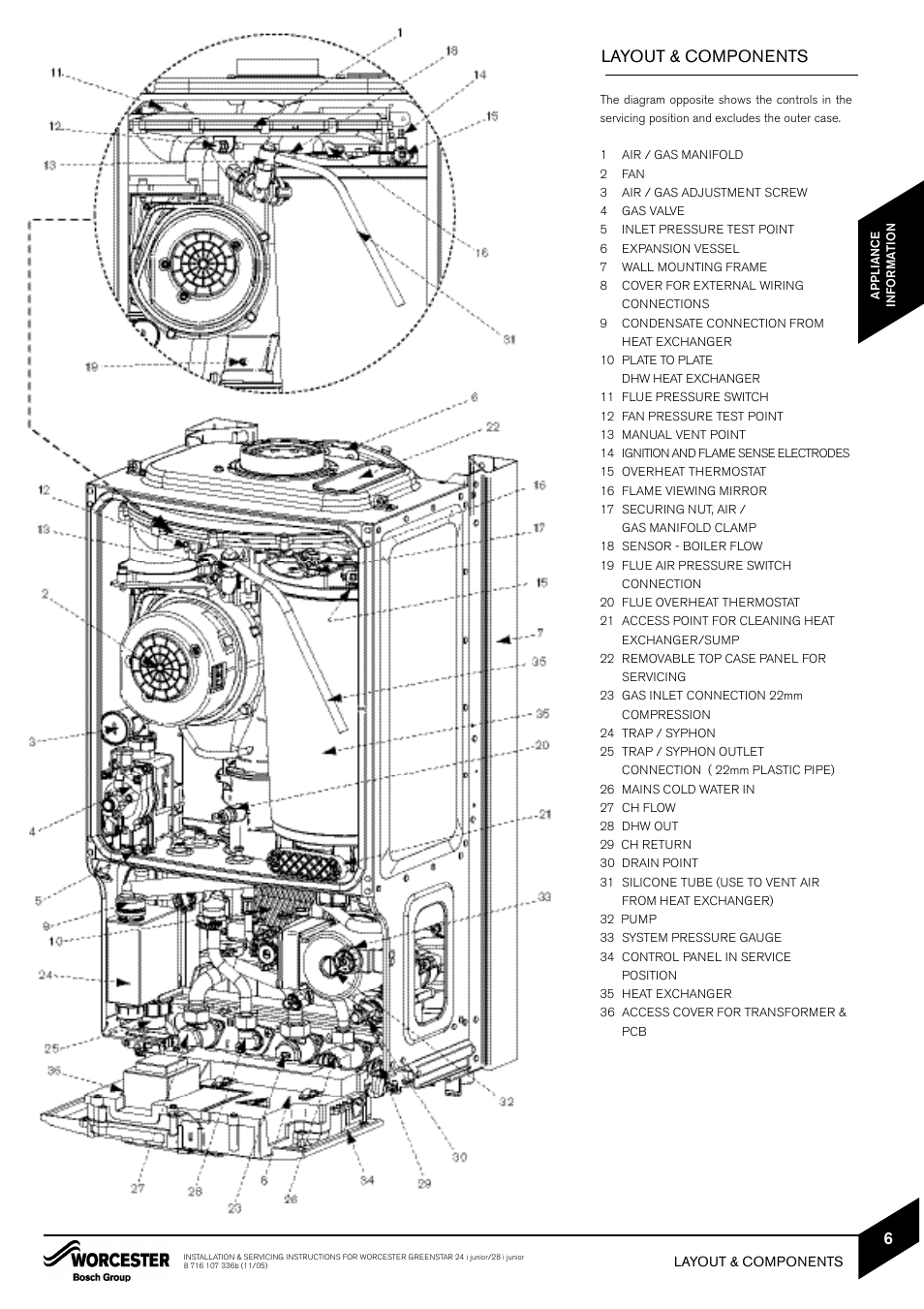 worcester bosch 24i system boiler wiring diagram 3 speed electric motor layout components greenstar junior user manual page 7 62