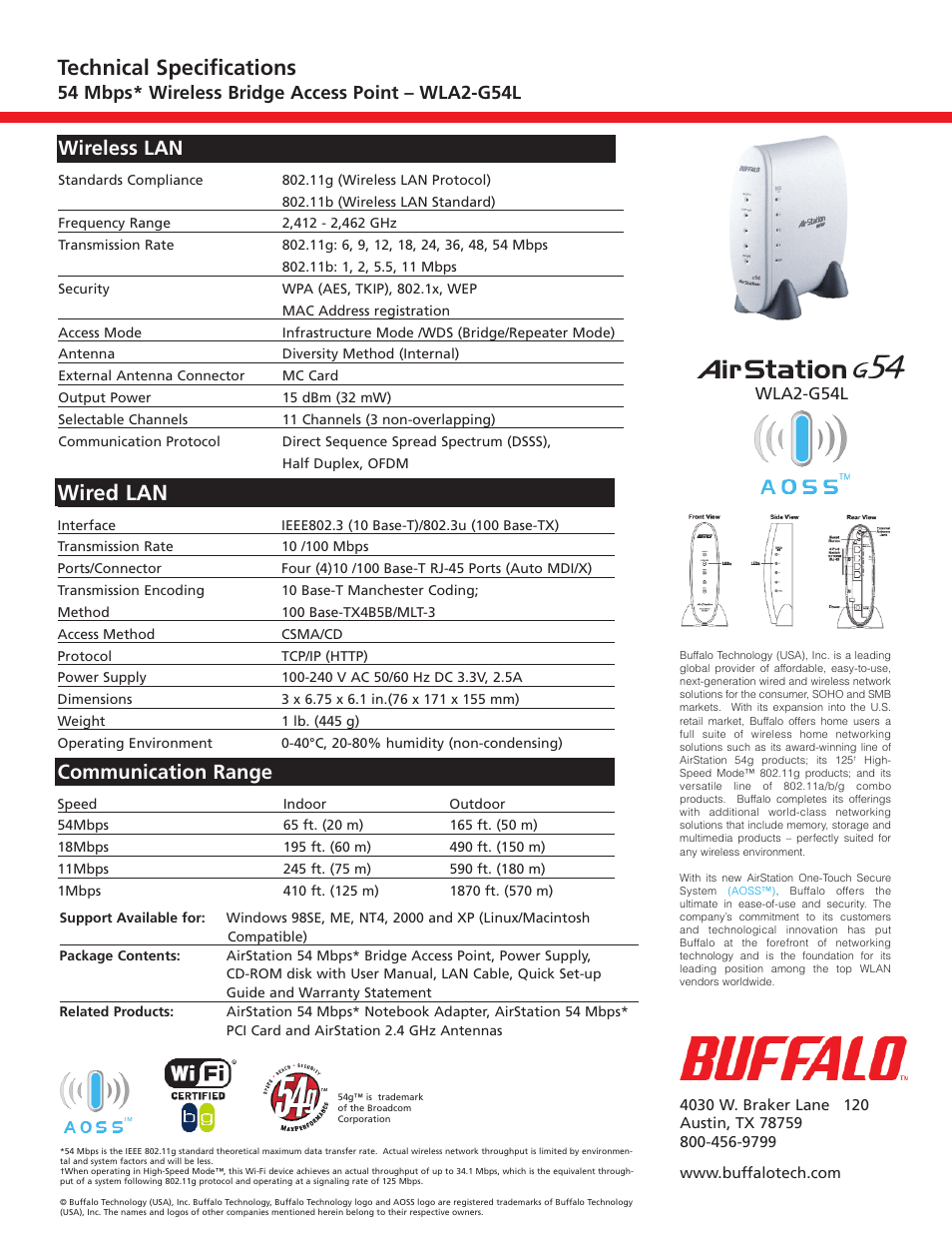 Wired lan, Technical specifications, Communication range