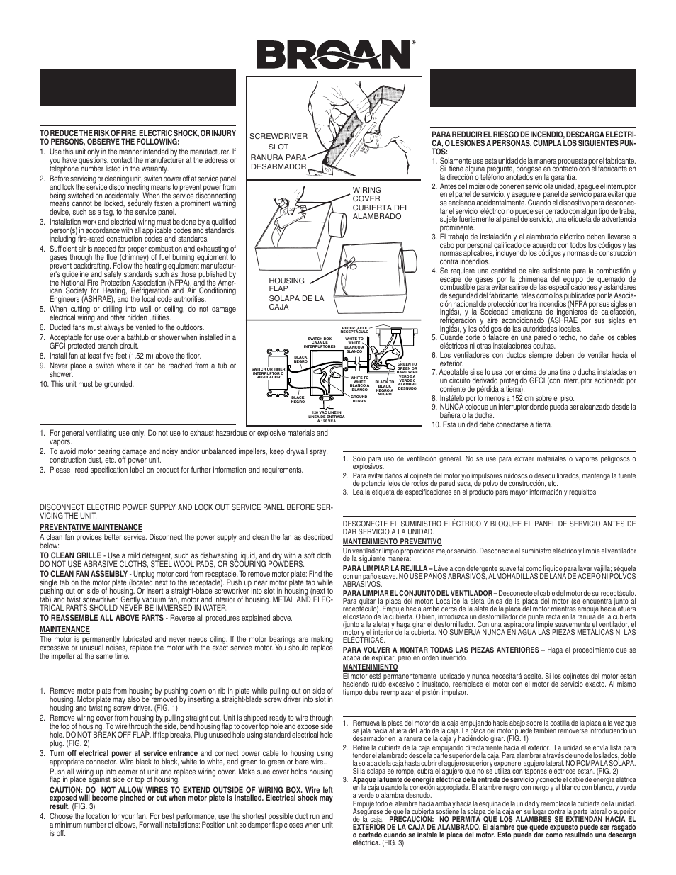 medium resolution of broan 671 user manual 2 pages