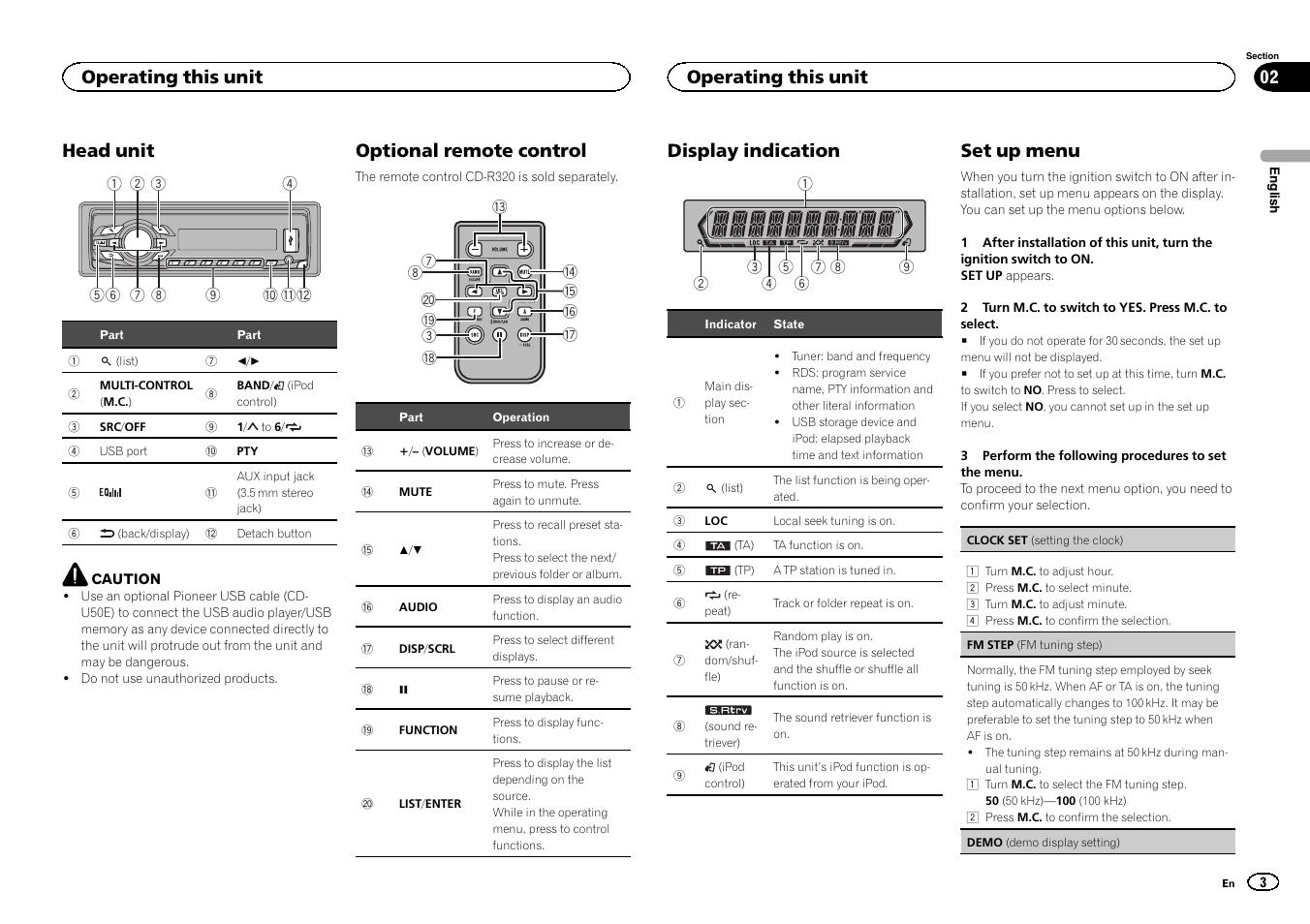 Head unit, Optional remote control, Display indication
