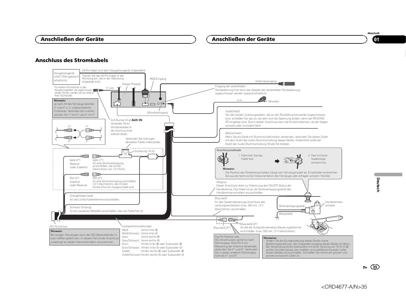 Anschluss des stromkabels, Anschließen der geräte
