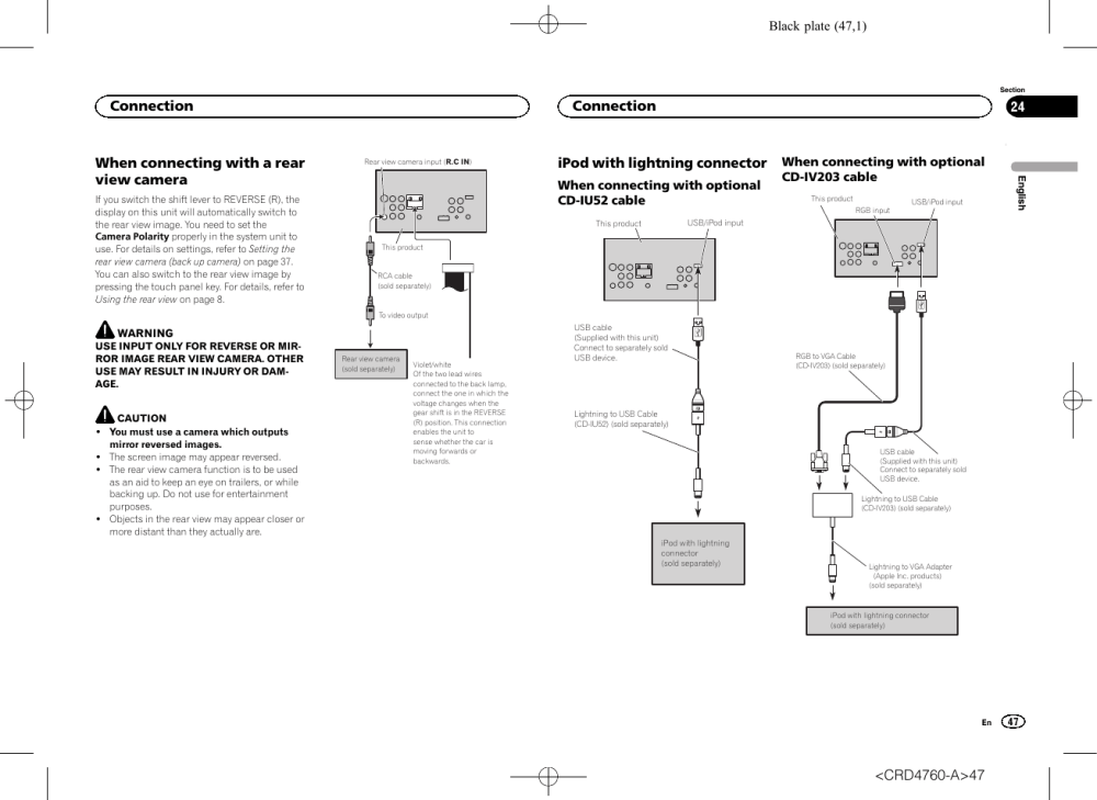 medium resolution of when connecting with a rear view camera ipod with lightning connector pioneer avh x2650bt user manual page 47 200