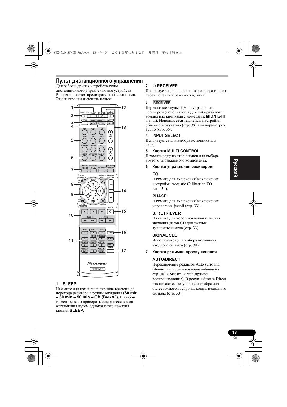 Пульт дистанционного уп²àâëåíèˇ, Пульт дистанционного