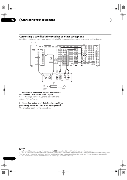 small resolution of connecting your equipment 03 cable 2 connect an optical type use an optical cable for the connection pioneer sc lx90 user manual page 22 150