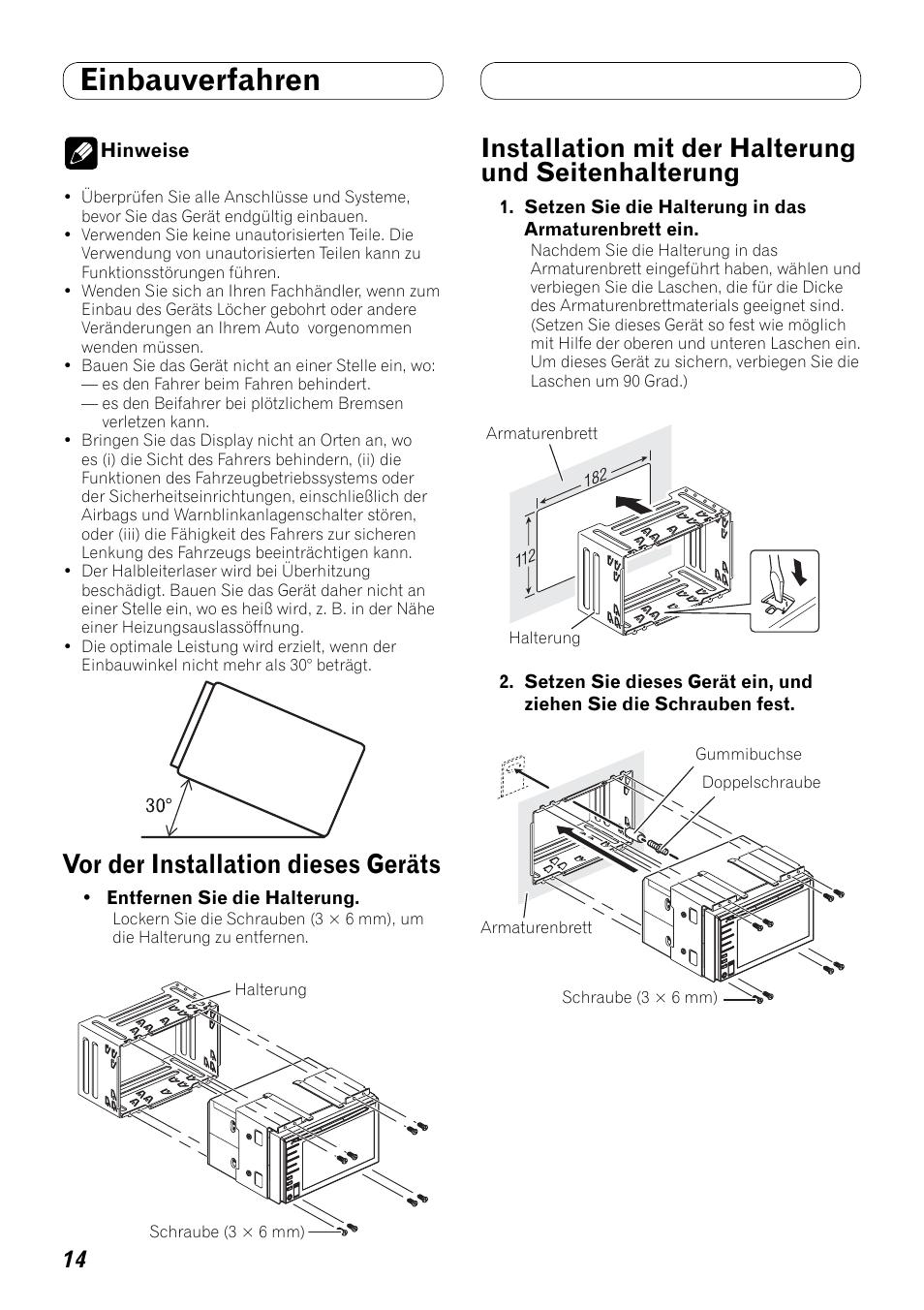 medium resolution of einbauverfahren seitenhalterung vor der installation dieses ger ts installation mit der halterung und seitenhalterung