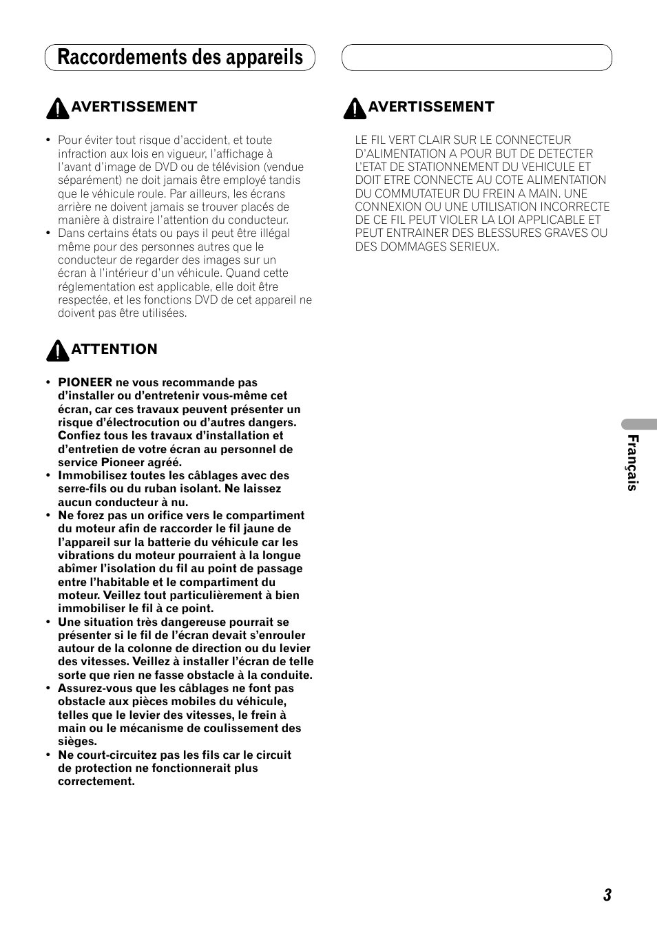 pioneer avh p3100dvd h4 bulb wiring diagram raccordements des appareils user manual page 45 86