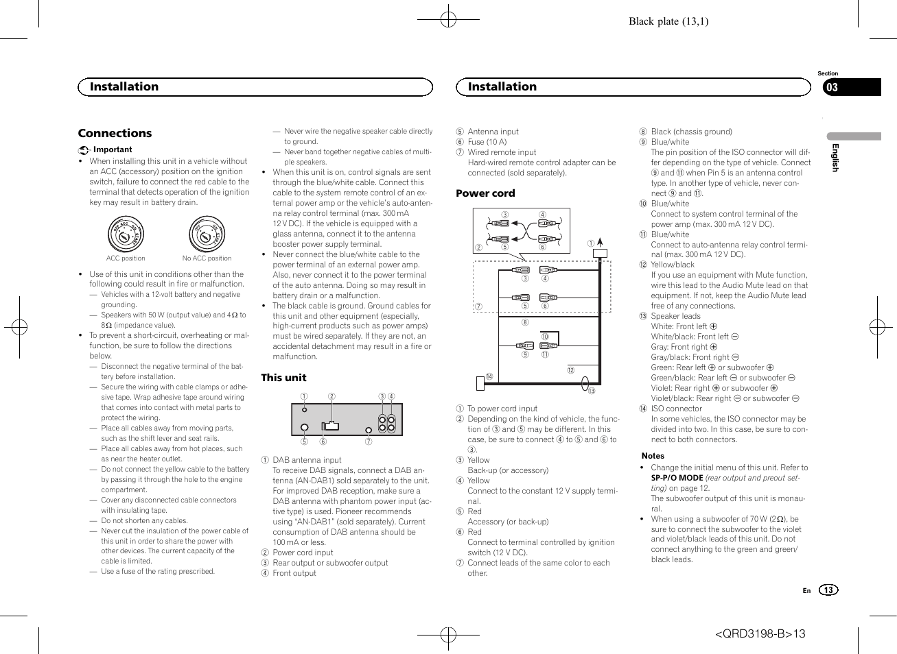 pioneer wiring remote chinese scooter ignition diagram connections installation deh x6600dab user manual page 13 148