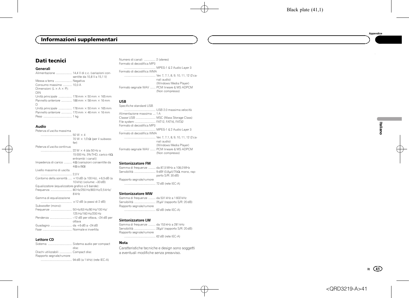 Dati tecnici, Informazioni supplementari, Black plate (41