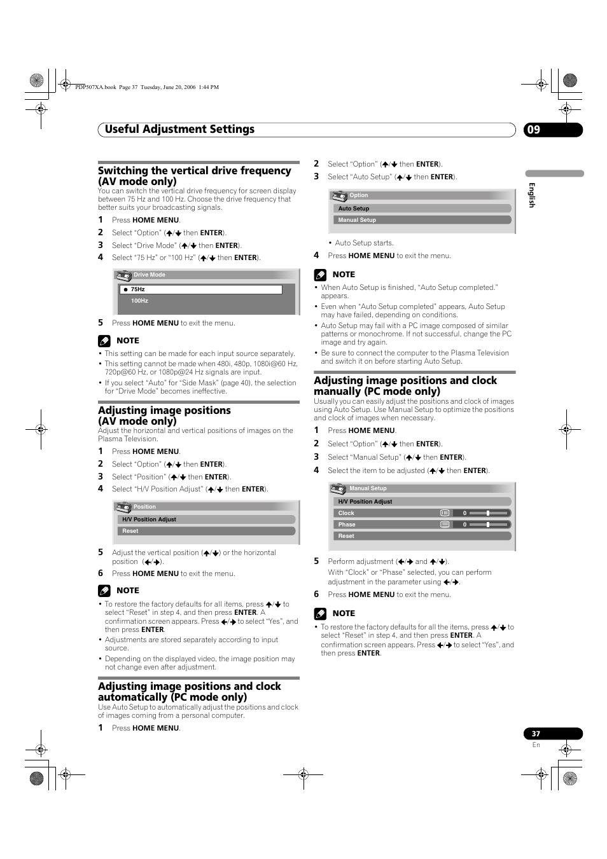 09 useful adjustment settings, Useful adjustment settings