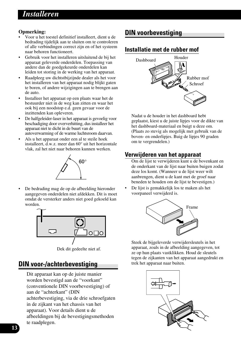 Installeren, Din voor-/achterbevestiging din