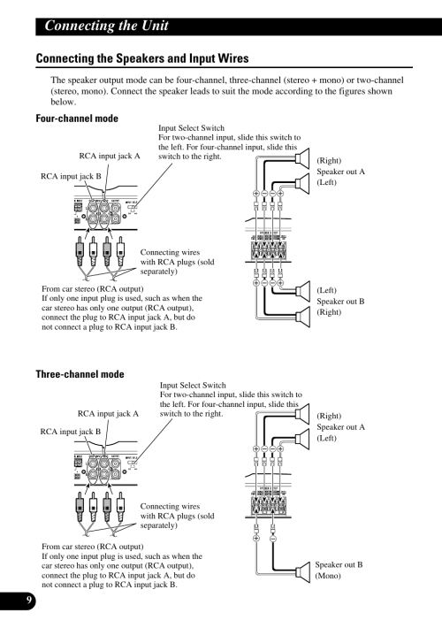 small resolution of connecting the speakers and input wires connecting the unit four channel mode three channel mode pioneer gm 6300f user manual page 10 86