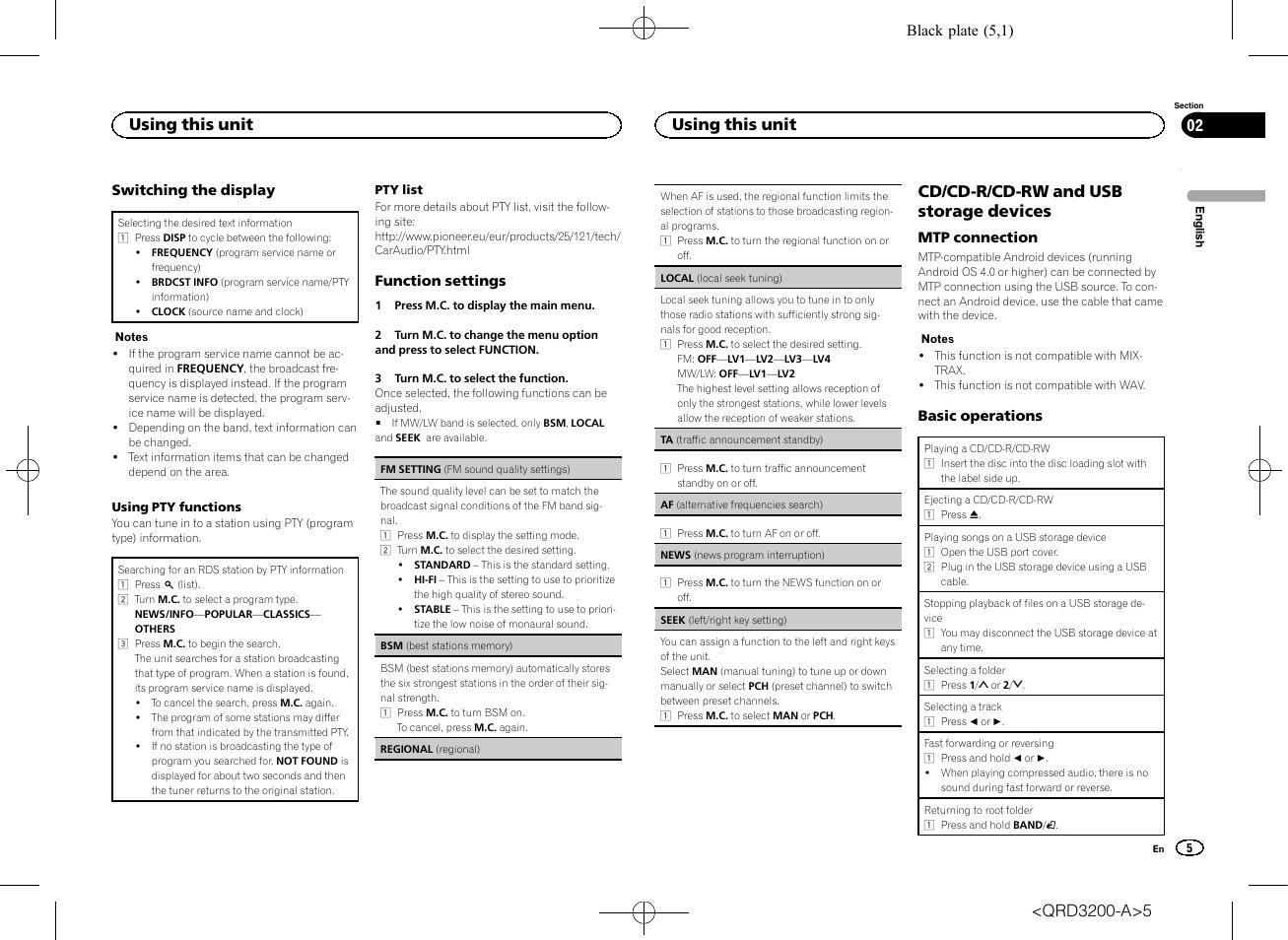 Seek (left, Af (alternative frequencies search), Cd/cd-r