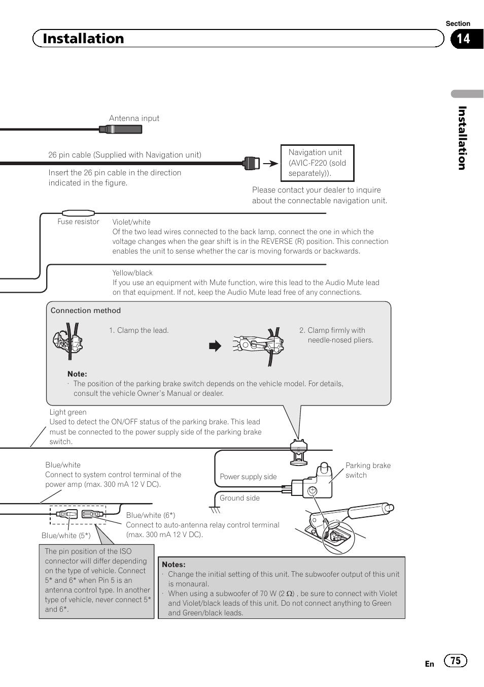 hight resolution of installation pioneer avh p6300bt user manual page 75 104