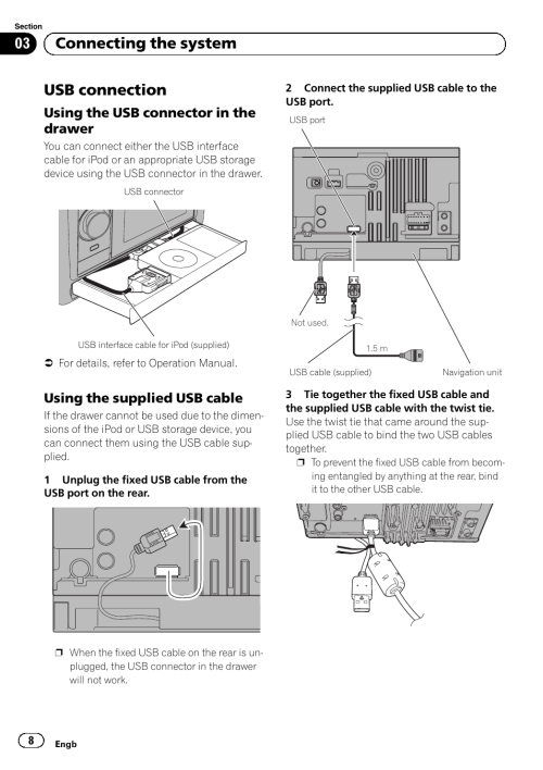 small resolution of usb connection using the usb connector in the drawer using the supplied usb