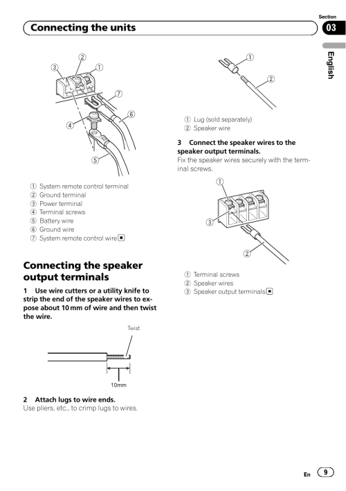 small resolution of connecting the speaker output terminals 03 connecting the units jensen uv10 wiring harness diagram connecting
