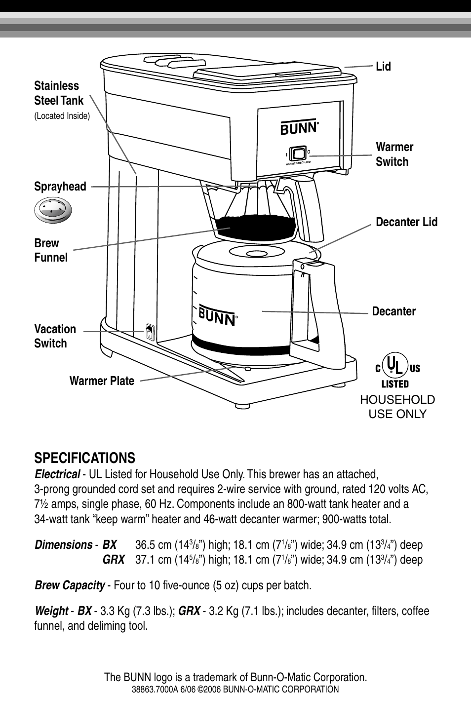 hight resolution of bunn grx b parts wiring diagrams wiring diagram specifications high 18 1 cm 7 sprayhead brew funnel vacation switch decanter