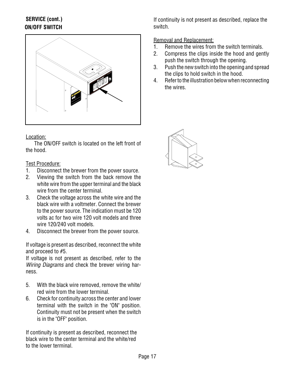 hight resolution of wiring diagrams page 17 service cont on off switch bunn cwt ts user manual page 17 24