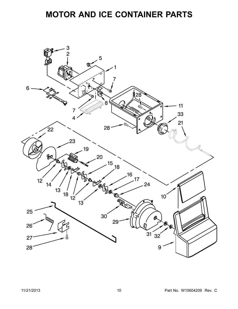 Motor and ice container, Motor and ice container parts