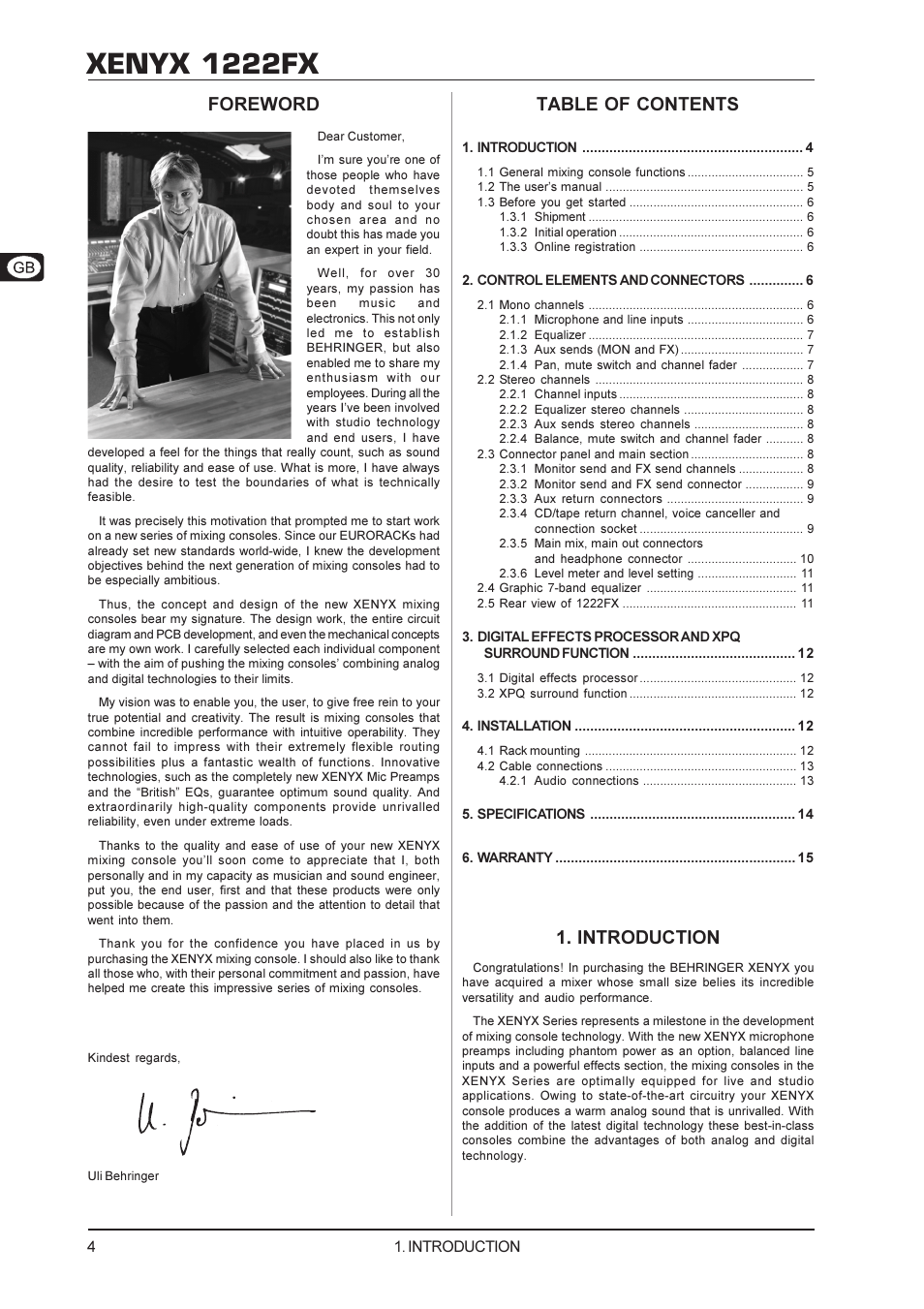 Xenyx 1222fx, Introduction, Foreword table of contents