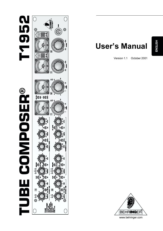 BEHRINGER T1952 MANUAL PDF